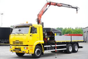 камион со рамна платформа KAMAZ 65117 , 6x4 , Crane Fassi 95 , rotator , box 6m