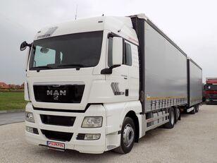 камион со завеса MAN TGX 26.400 - TANDEM JUMBO + приколка завеса