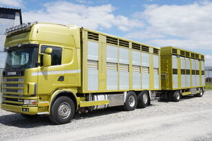 камион за превоз на животни SCANIA R164 V8 , 6x2 , 2 hydraulic decks , 70m2 , live stock + приколка за превоз на животни