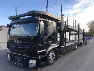камион за транспорт на возила IVECO AT190S,460 E-6,Retarder + Kassbohrer APT003(rozsuwana), 9/10aut, + приколка за транспорт на возила