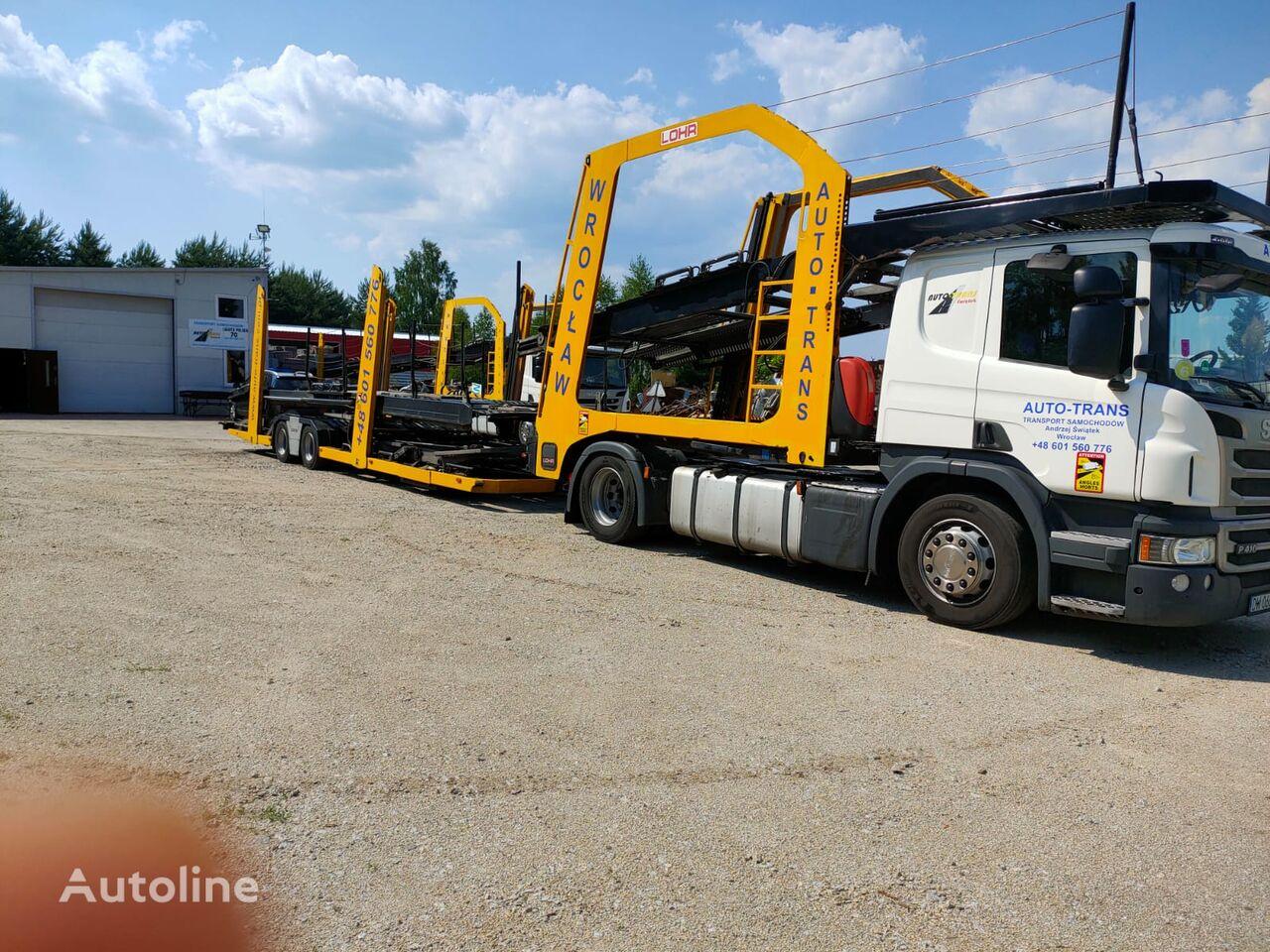 камион за транспорт на возила SCANIA Eurolohr + приколка за транспорт на возила
